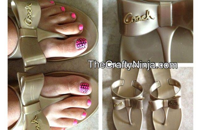 coach bronze jelly sandal