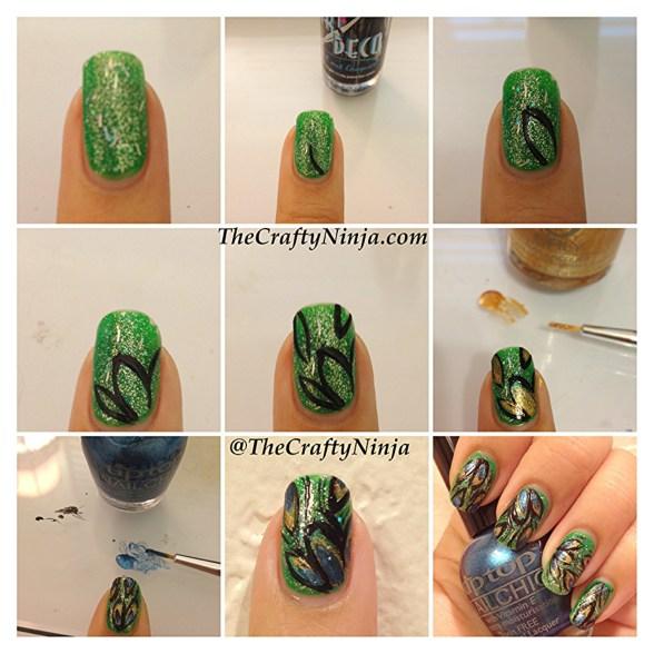 diy peacock nail