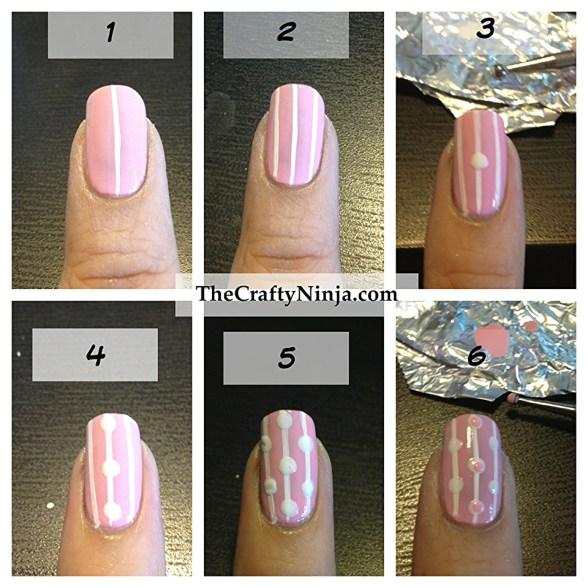 diy stripe dot nails