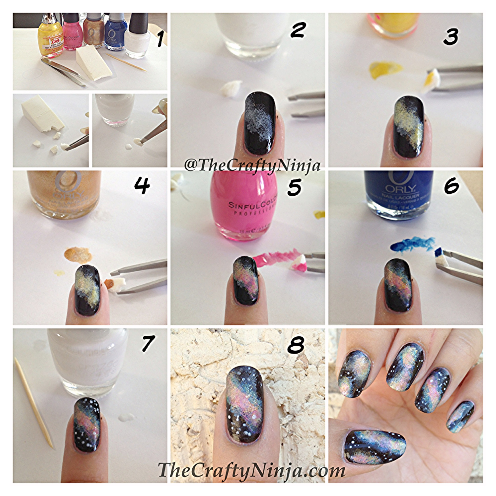 Galaxy Nail Tutorial | The Crafty Ninja