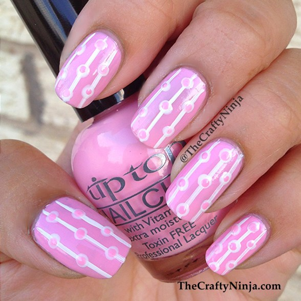 pink dot stripe nails
