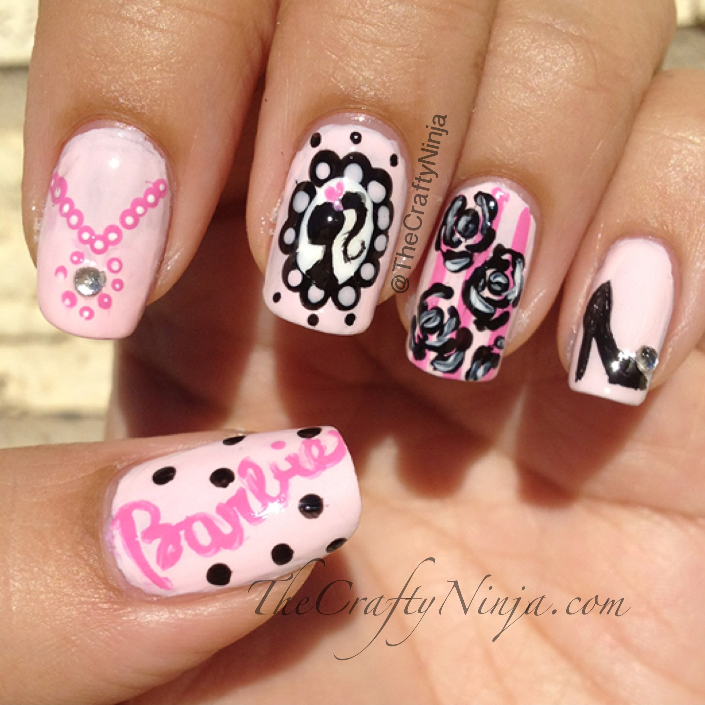Cameo Barbie Nails | The Crafty Ninja