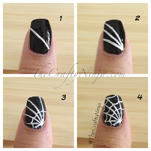 diy spider web nails