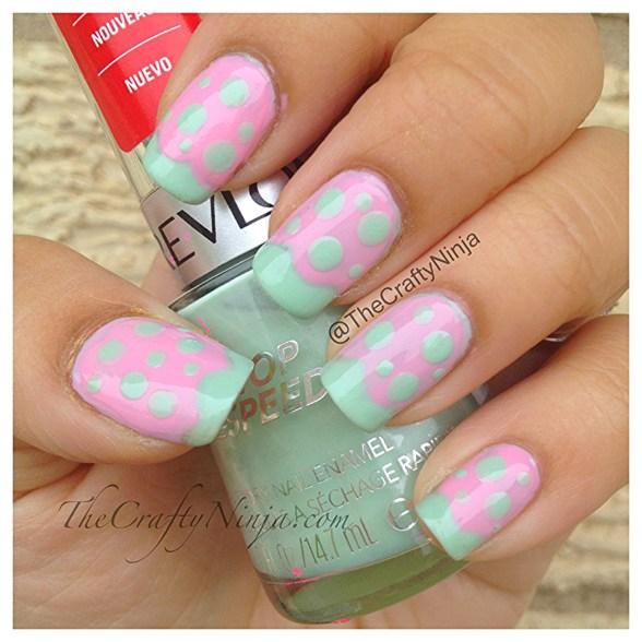 mint pink nails