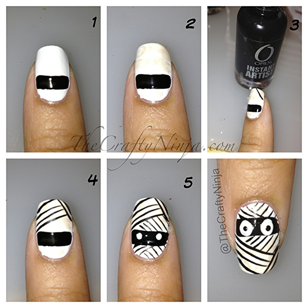 mummy nail diy 1024x1024 Halloween Nails DIY