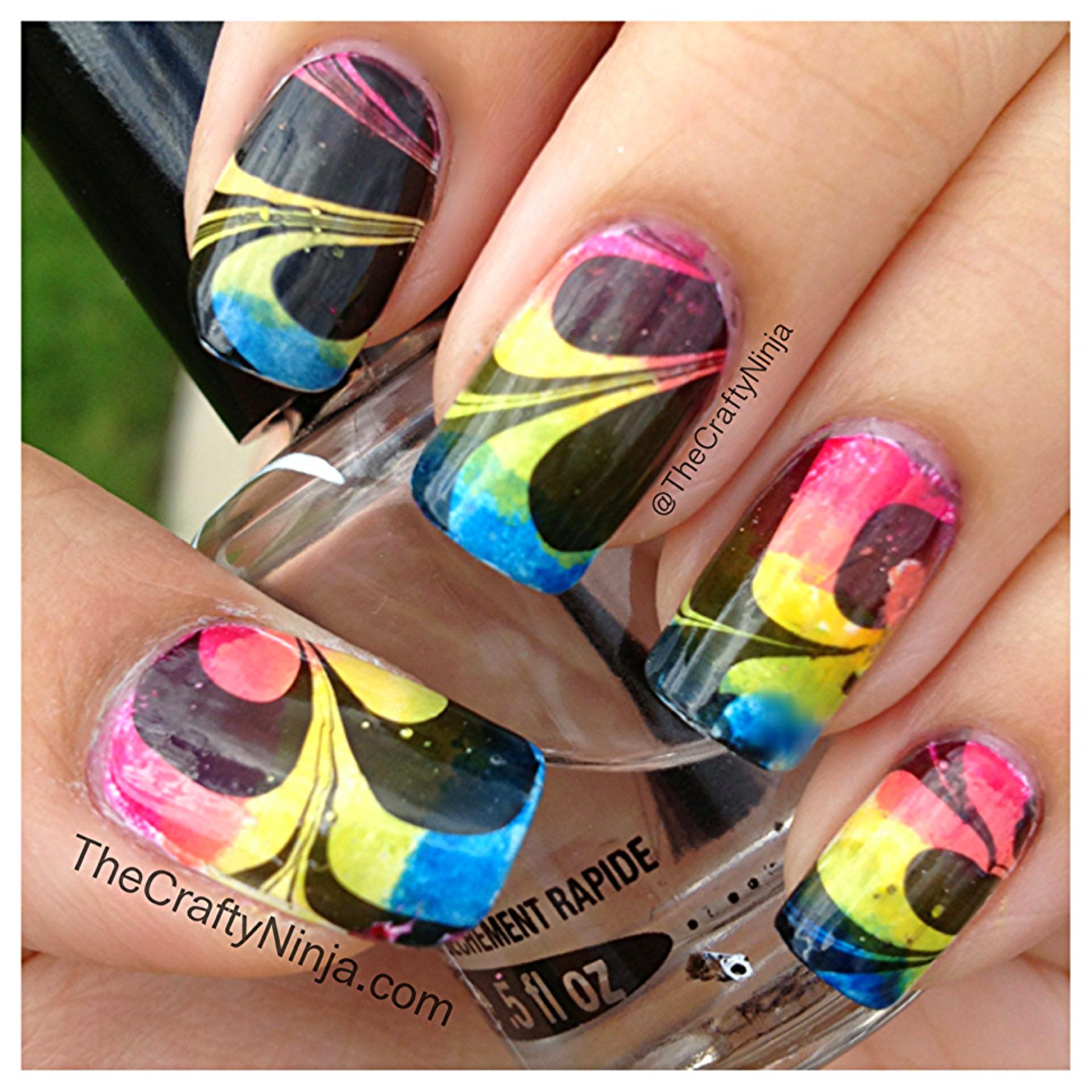 Rainbow Water Marble Nails   The Crafty Ninja