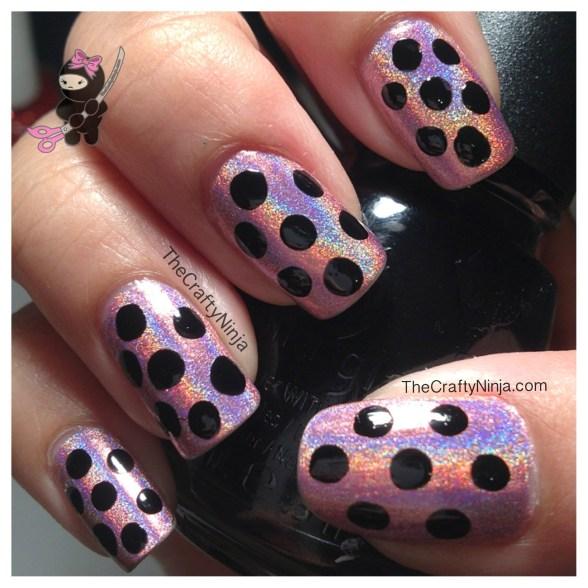 pink dots nail