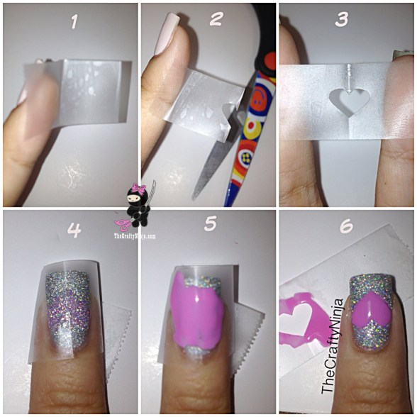 diy heart tape nails
