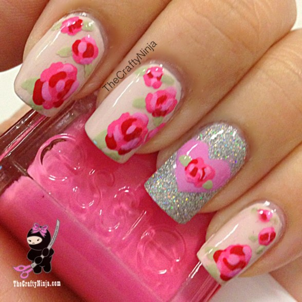 rose flower nails
