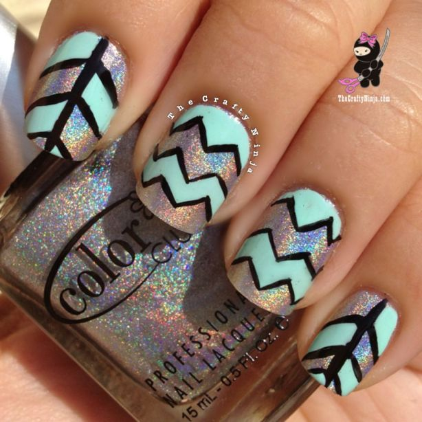 chevron tape nails