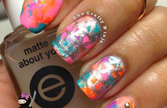 Neon Watercolor Tribal Matte Nails | The Crafty Ninja
