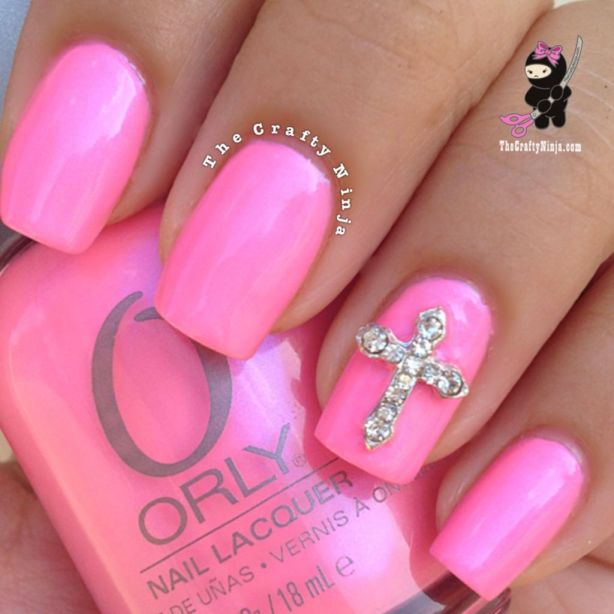 pink cross nails