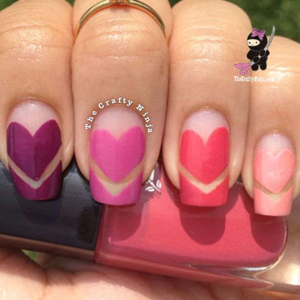 Heart Chevron Nails