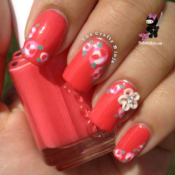 Coral Flower Nails