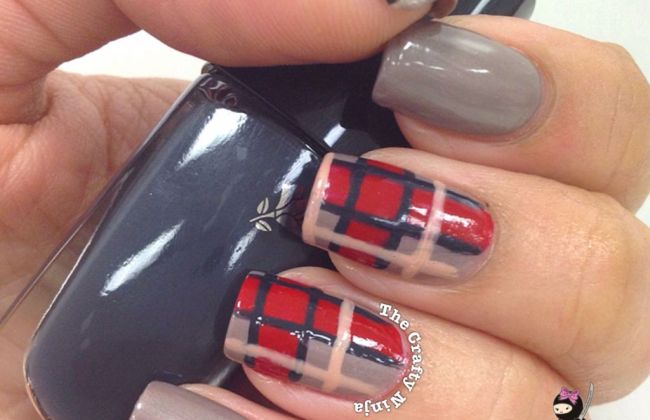 Fall Plaid Print Nails