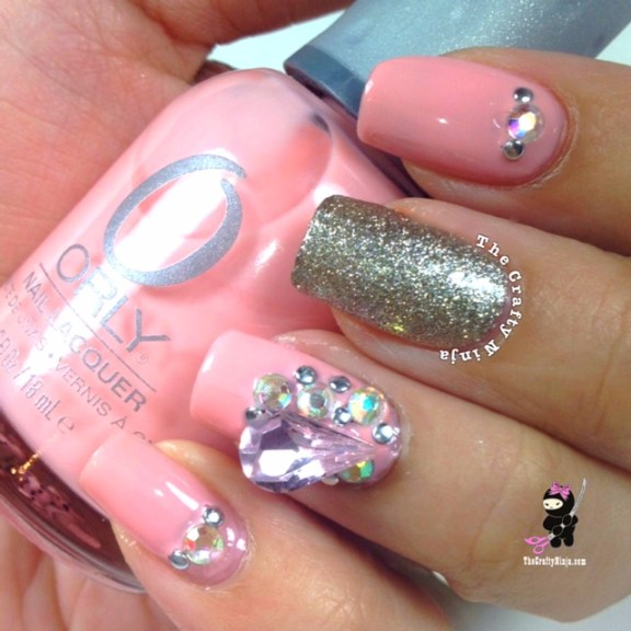 Pink Sparkle Nail