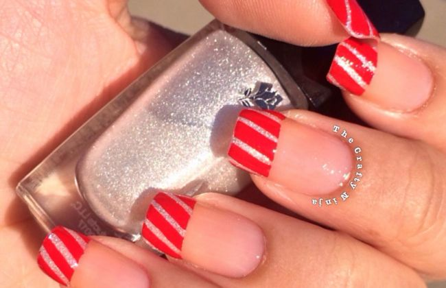 Candy Cane French Tip Nail Design The Crafty Ninja