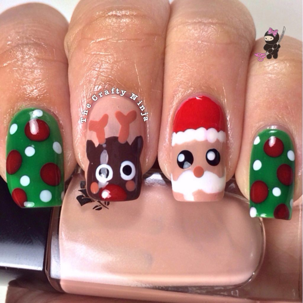 Christmas Nail Art Tutorial Gingerbread Galore: Santa And Rudolph Reindeer Nails