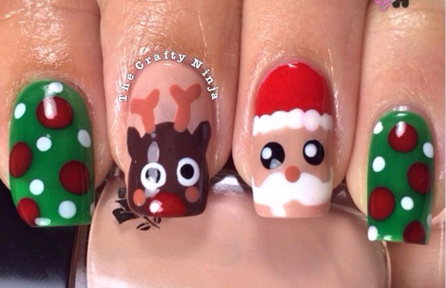 Santa and rudolph reindeer nails the crafty ninja santa and rudolph reindeer nails prinsesfo Images