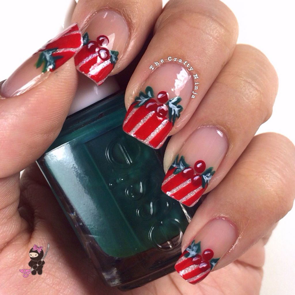 Christmas Nail Designs With White Tips: Christmas Mistletoe Holly Nails