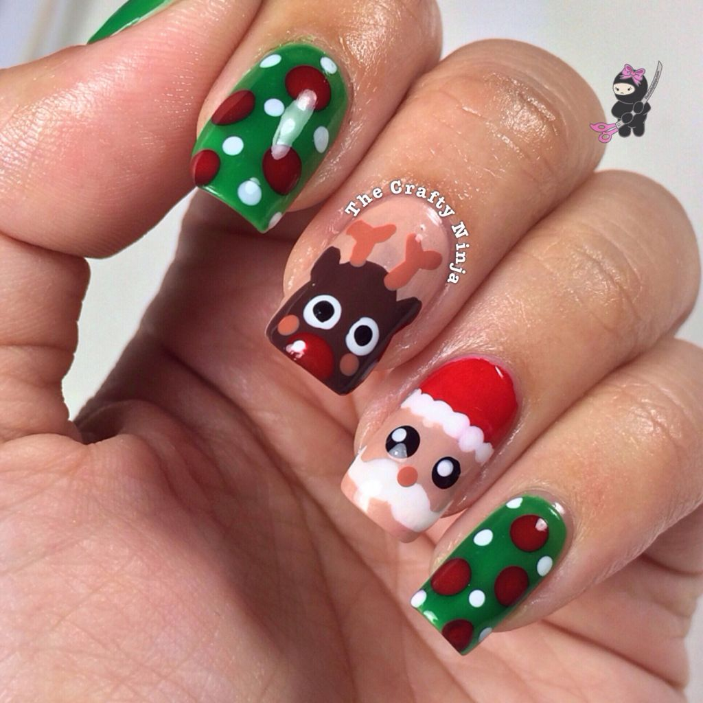 Christmas Nails Design Easy: Santa And Rudolph Reindeer Nails