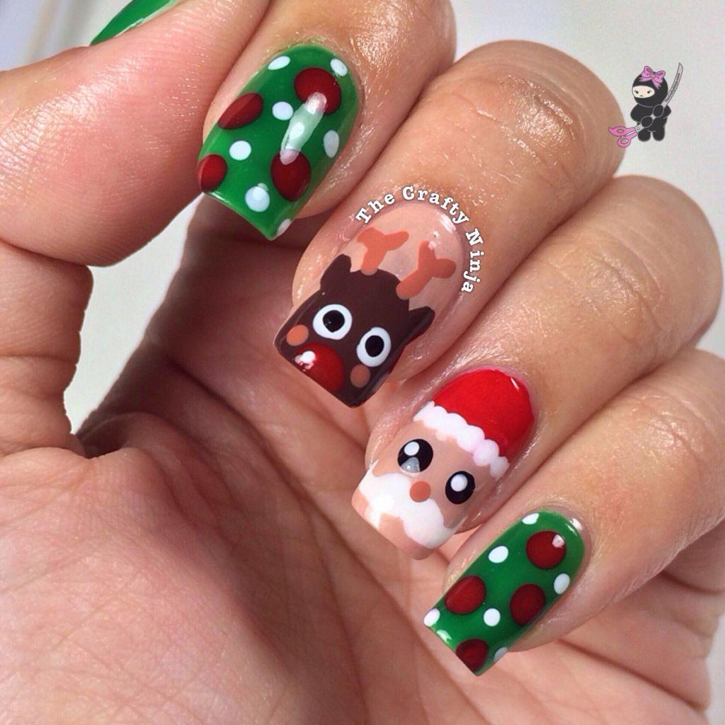 Christmas Nail Art Designs Gallery: Santa And Rudolph Reindeer Nails