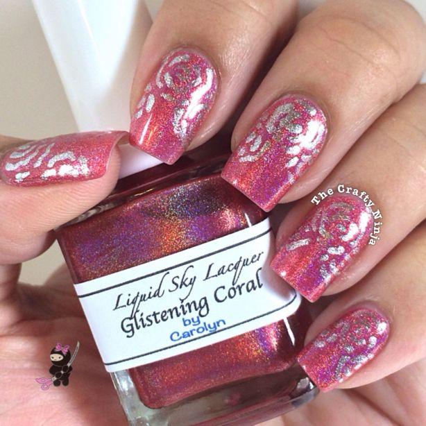 Glistening Coral Nails