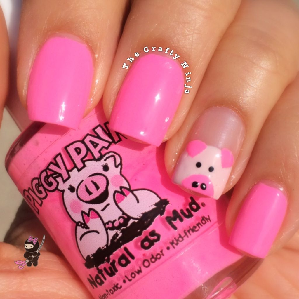 Cute Pig Nail Art Designs : Pink piggy nails the crafty ninja
