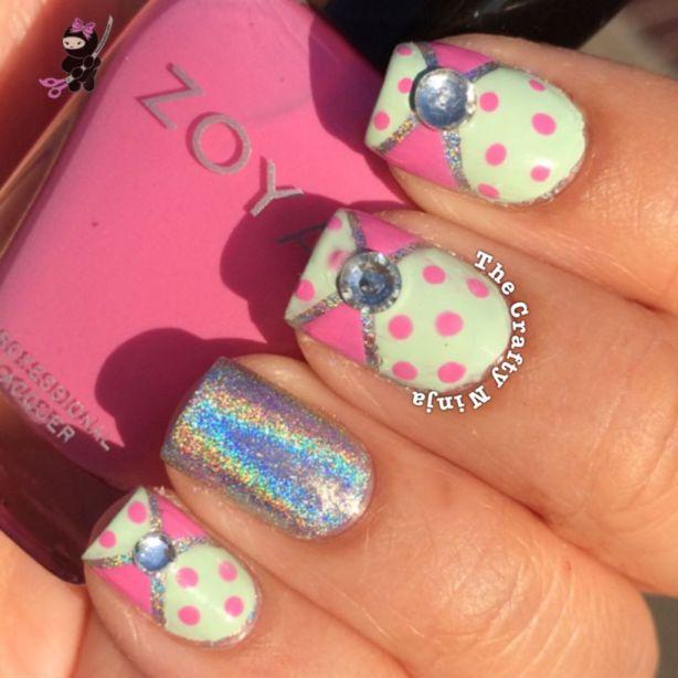 Pink Mint Bow Nails The Crafty Ninja
