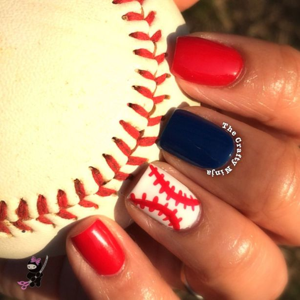 Red White Blue Baseball Nail