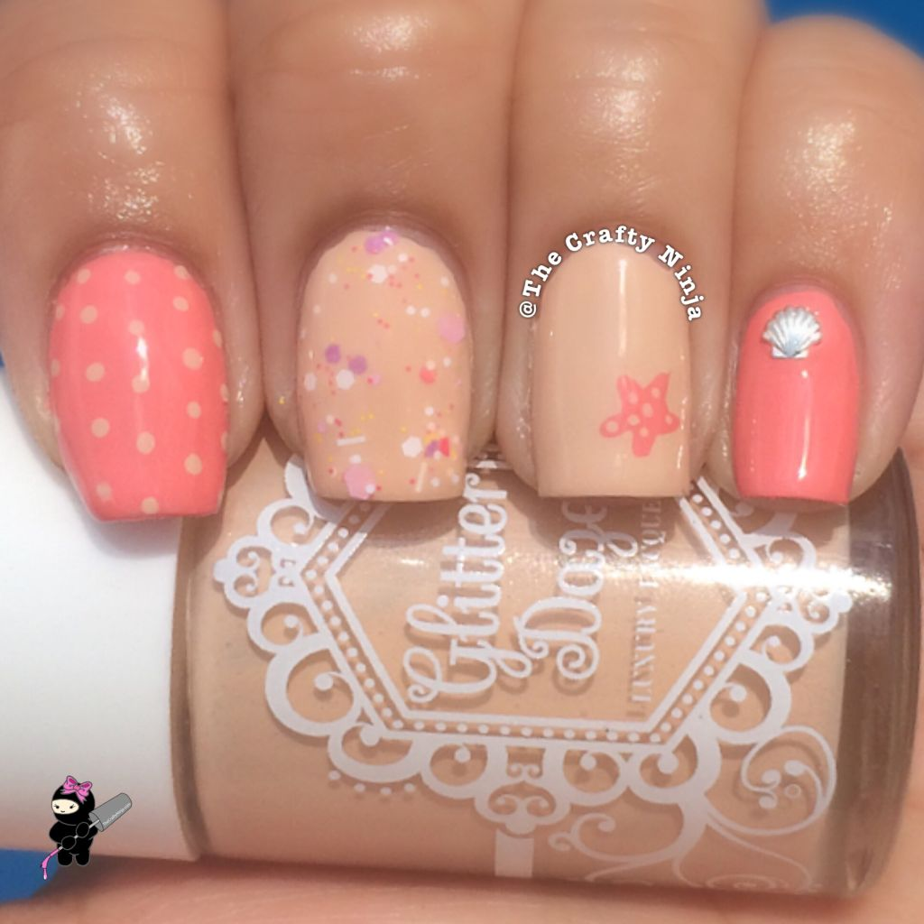 Coral And Nude Starfish Nails The Crafty Ninja
