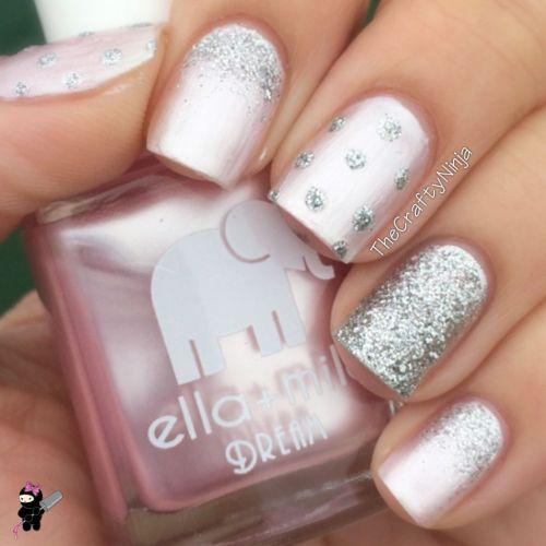 Pink Glittery Nails