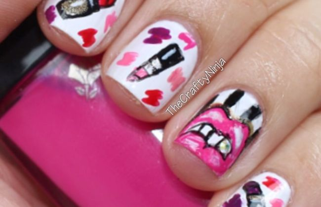 Lipstick Lips Nail Art The Crafty Ninja