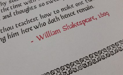 William Shakespeare, in scarlet