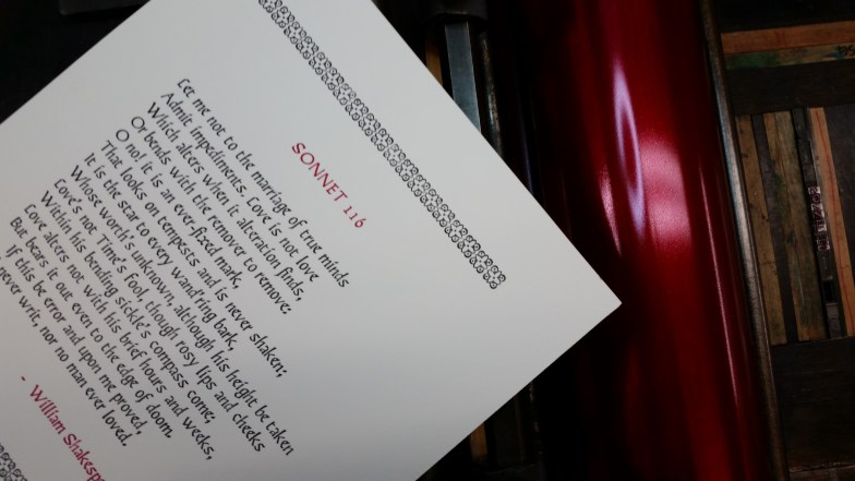 Sonnet 116, printed in black and Rubine Red inks