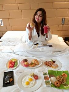 Brreakfast in bed at Courtyard by Marriott, Hebbal.