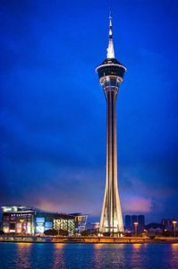 Macao 360* revolving restaurant on top of the sky high Macau tower.