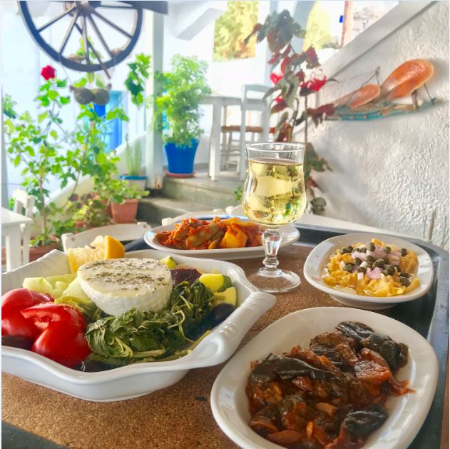 Greek Food at Maistrali restaurant, Astypalaia, Greece.