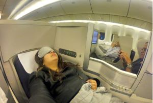 Fully reclining Club World Seats offer a good nights sleep.
