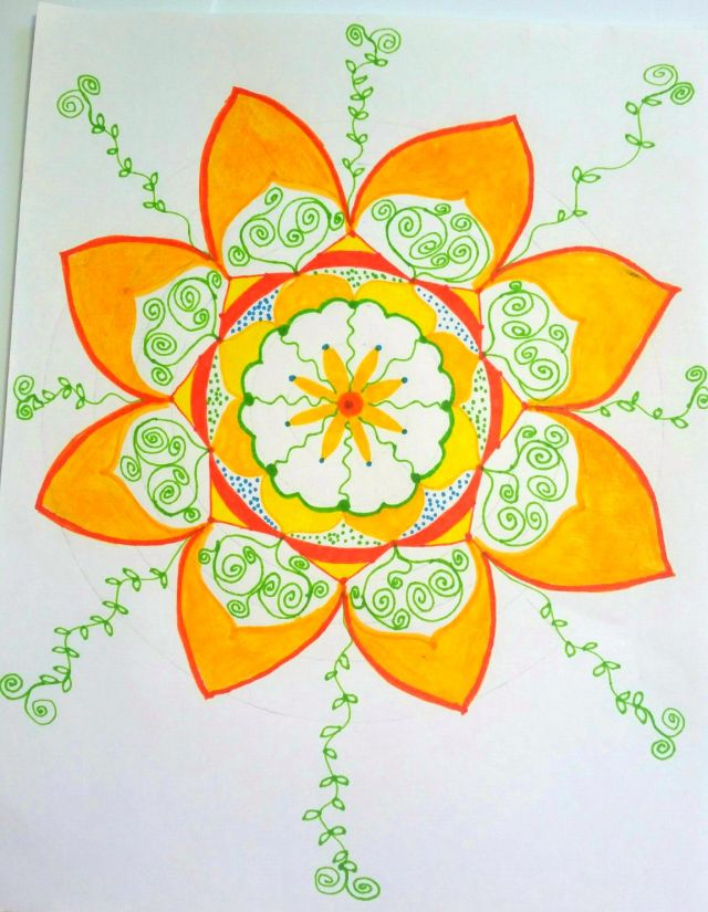 yellow n orange sun mandala