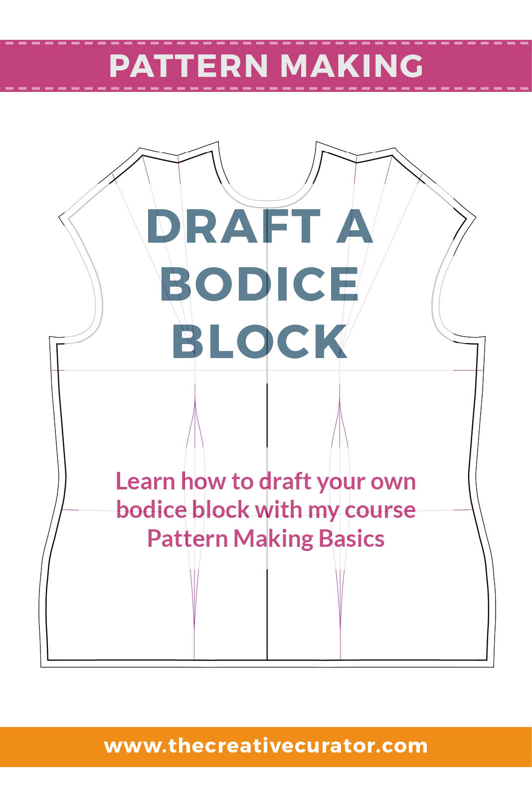 Learn how to draft a bodice block using your own measurements for a better fitting bodice sloper! - The Creative Creator #patternmakingbasics #patterndrafting #patternmaking #sewingprojects