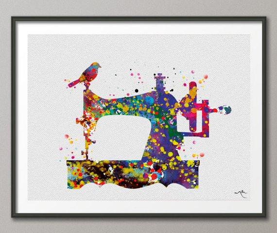 Watercolour sewing machine print