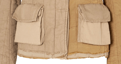 Close up photo of a beige accordion style type of pocket with flat