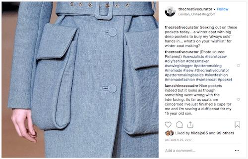 Detailed photo of oversized pockets on a grey coat