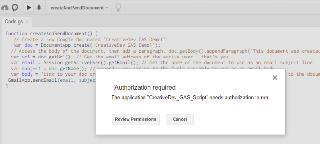 Google-apps-script-autherization