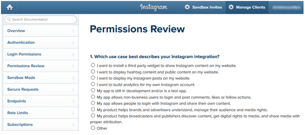 instagram permission review