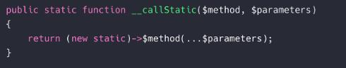 laravel - static - method not exists