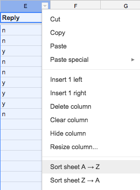 Contacts Spreadsheet