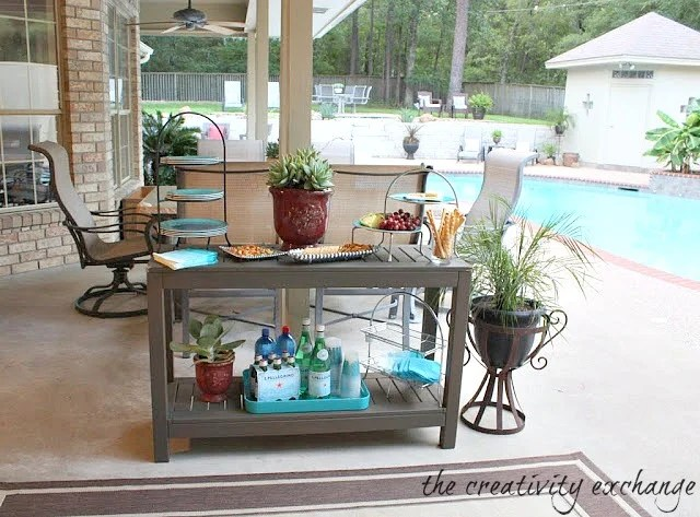 Outdoor Side Table Turned Buffet {The Creativity Exchange}