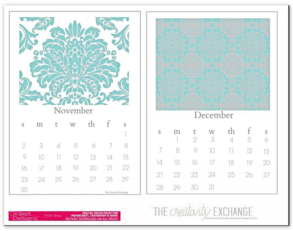 Free Printable Chic Desktop Calendar